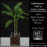 35L Sun LadyM's Mesh Outdoor Wood Inlay Planter - Palm Plant 3