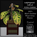 35L Sun LadyM's Mesh Outdoor Wood Inlay Planter - Tropical Crot