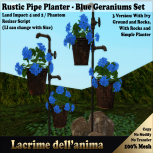 (PIC) Rustic Pipe Planter - Blue Geraniums Set
