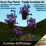 (PIC) Rustic Pipe Planter - Purple Geraniums Set