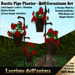 (PIC) Rustic Pipe Planter - Red Geraniums Set