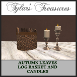 .TT. AUTUMN LEAVES LOG BASKET AND CANDLES MP AD