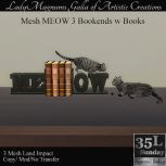 35L Sun LadyMs Mesh MEOW 3 Bookends w Books