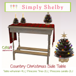 Country Christmas table wPinecone trees