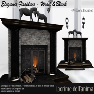 (PIC) Elegance Fireplace - Wood & Black