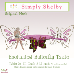 Simply Shelby Enchanted Butterfly Table pink - 3 Colors Avail.