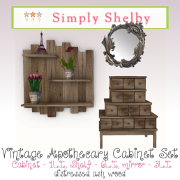 Vintage Apothecary Cabinet Set ash - avail in 2 colors
