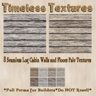 8 Seamless Log Cabin Walls and Floors Pale Timeless Texture PIC