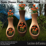(PIC) Garden Chiminea Planter - Orange Flowers