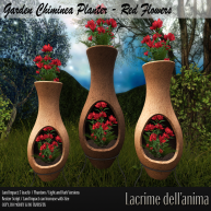 (PIC) Garden Chiminea Planter - Red Flowers