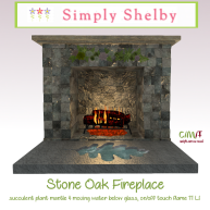 Simply Shelby Stone Oak Fireplace
