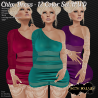[UNC] Chloe Dress - 12 Color Set HUD