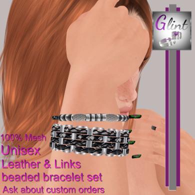 ._Glint_. Leather & links bracelet set