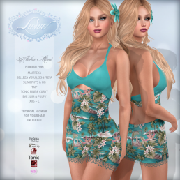 _Lurve_ Aloha Love Fitmesh Dress - Aqua - Vendor Pic