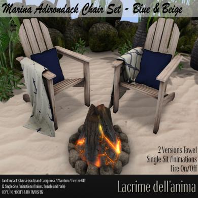 (PIC) Marina Adirondack Chair Set - Blue & Beige