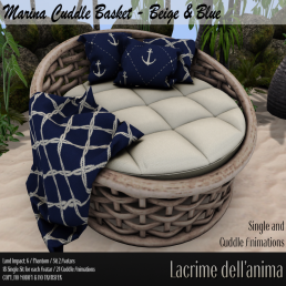 (PIC) Marina Cuddle Basket - Beige & Blue