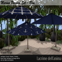 (PIC) Marina Parasol Set - Blue