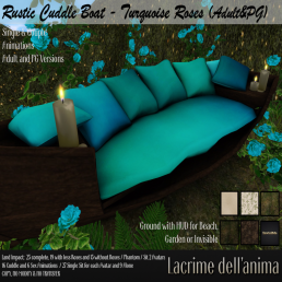(PIC) Rustic Cuddle Boat - Turquoise Roses (Adult&PG)
