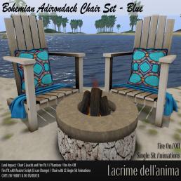 (PIC) Bohemian Adirondack Chair Set - Blue