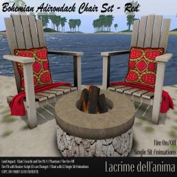 (PIC) Bohemian Adirondack Chair Set - Red