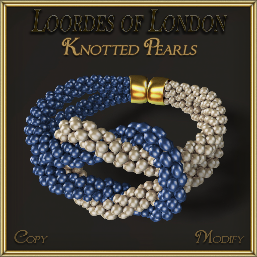 Knotted Pearls Bracelet Blue White